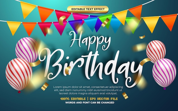 Happy birthday white handwritten origami paper editable effect style. blue background with colorfull balloons decoration