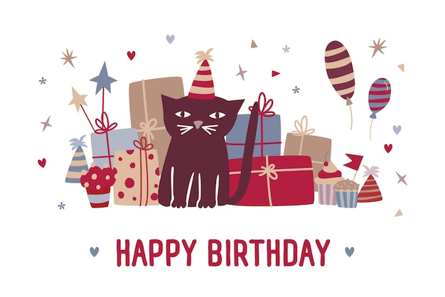 Happy birthday wish and funny cartoon black cat in party hat sitting against gifts