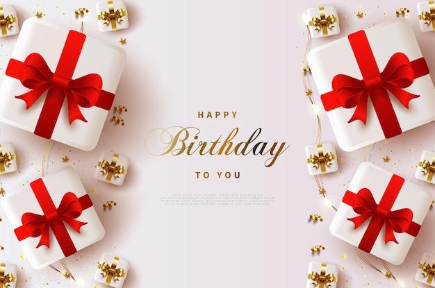 글을 장식하는 빨간 리본 선물 상자로 생일 축하합니다.