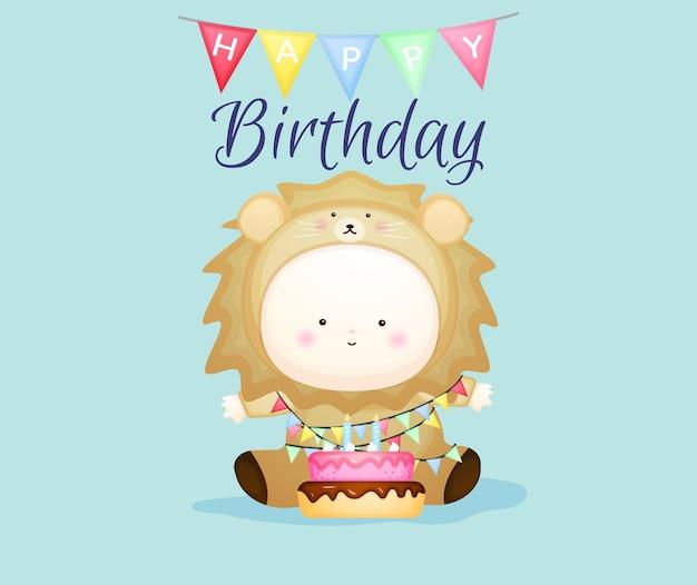 Happy birthday with baby in lion costume. mascot cartoon illustration premium vector