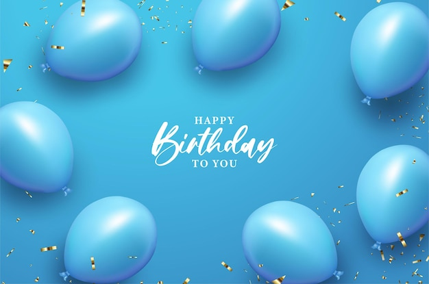 Happy birthday with balloon on blue