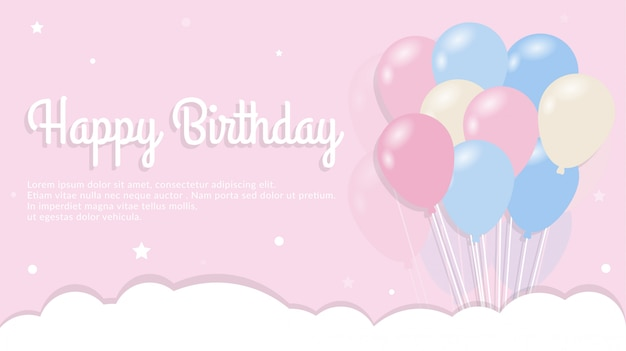 Happy birthday with balloon concept background template