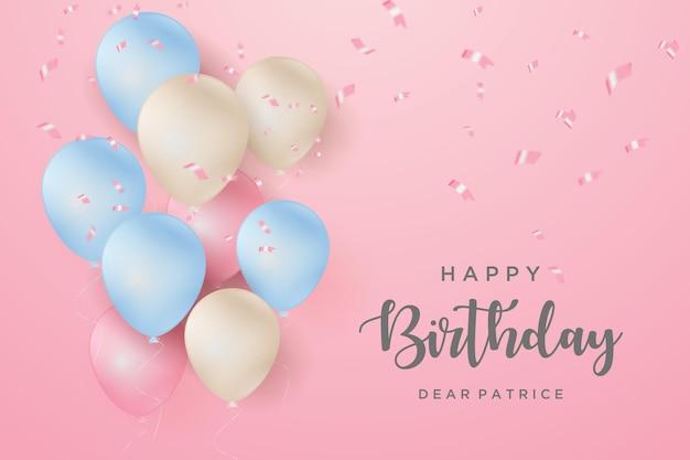 ピンクの背景に風船が飛んでお誕生日おめでとう