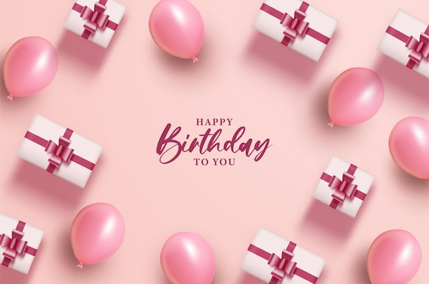 Happy birthday with balloons and gift box on pink background