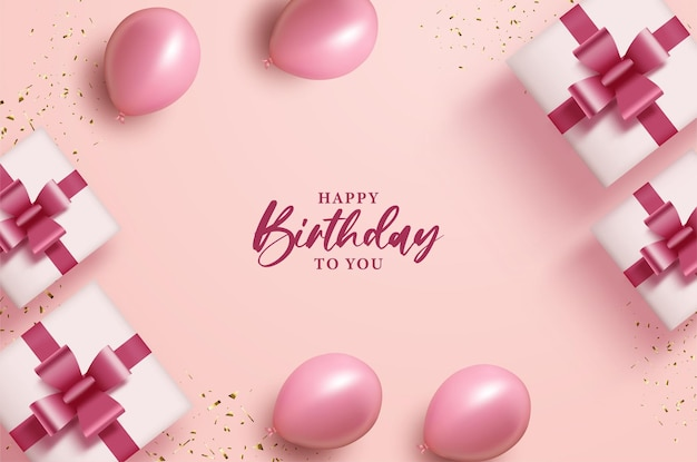 Happy birthday with balloons and gift boxes on pink background