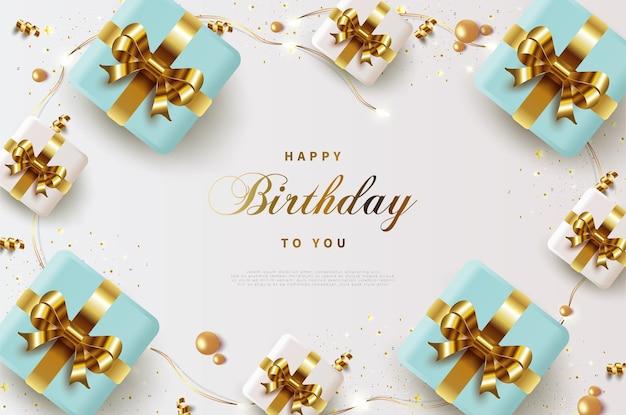 아름다운 선물 상자와 함께 생일 축하합니다