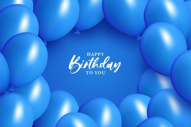 Happy birthday with blue balloon decoration