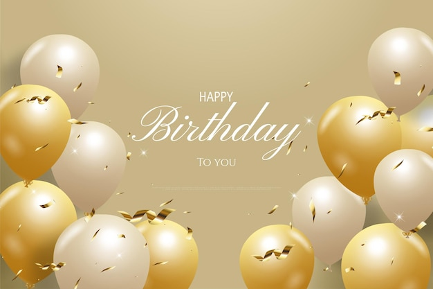 Happy birthday with brown background and decorated with balloons under the writing