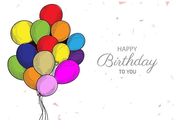 Buon compleanno con schizzo di palloncini colorati