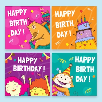 Happy birthday with colourful templates for birthday party