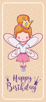 Happy birthday with cute fairy card