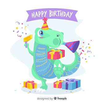 Happy birthday with dinosaur and gifts