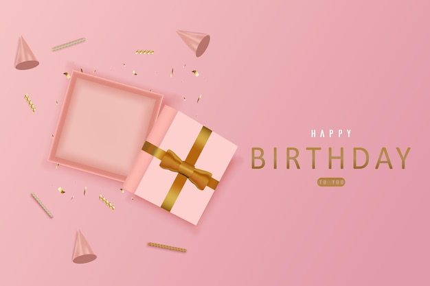 Happy birthday with empty open gift box