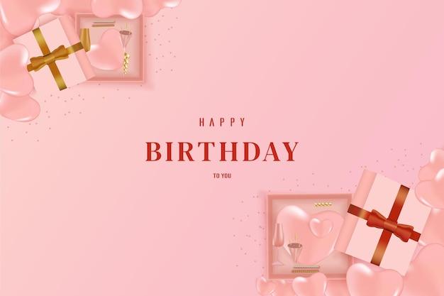 Happy birthday with gift box  on both corners