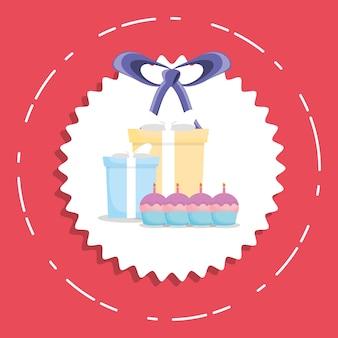 생일 선물 상자와 컵 케이크 촛불 아이콘