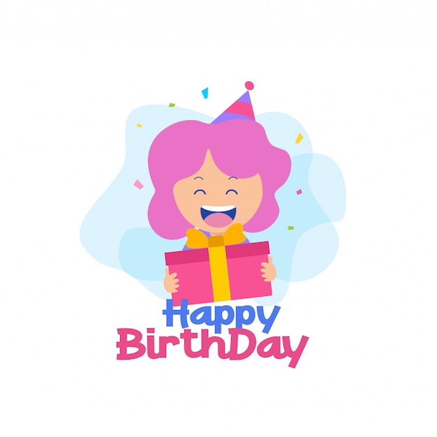 Happy birthday with girl character vector