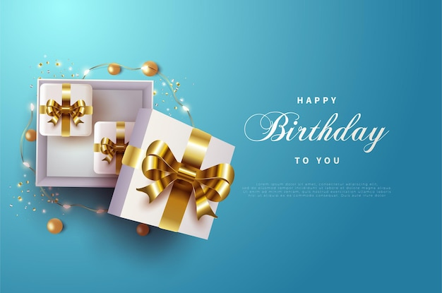 Happy birthday with gold ribbon gift box.