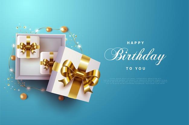 골드 리본 선물 상자와 함께 생일 축하해.