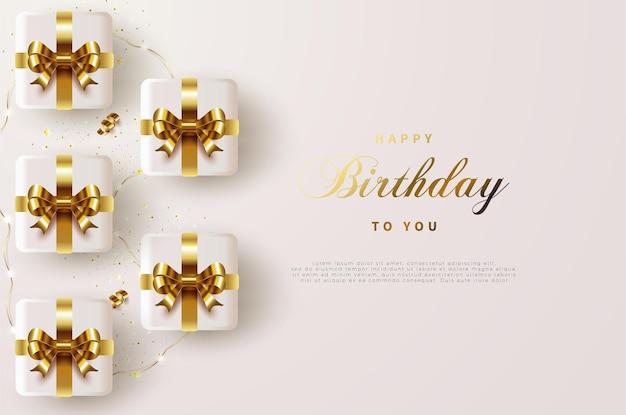 골드 리본 선물 상자와 함께 생일 축하합니다