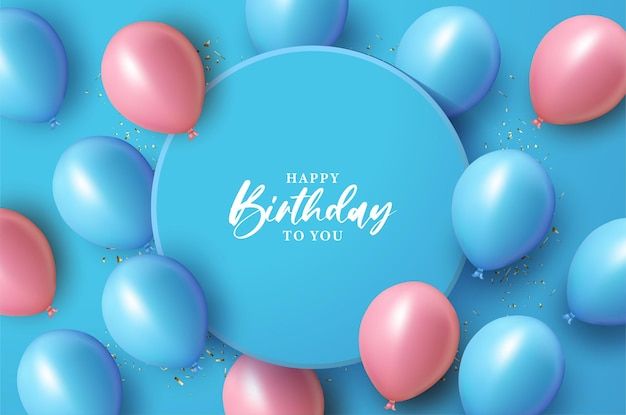 Happy birthday with illustration over blue circle