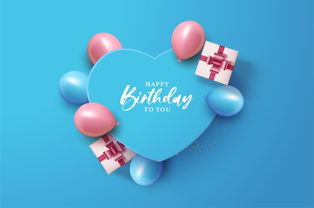 Happy birthday with illustration on love paper