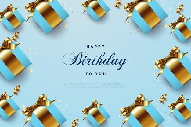 고급스러운 골드 리본 선물 상자로 생일 축하합니다