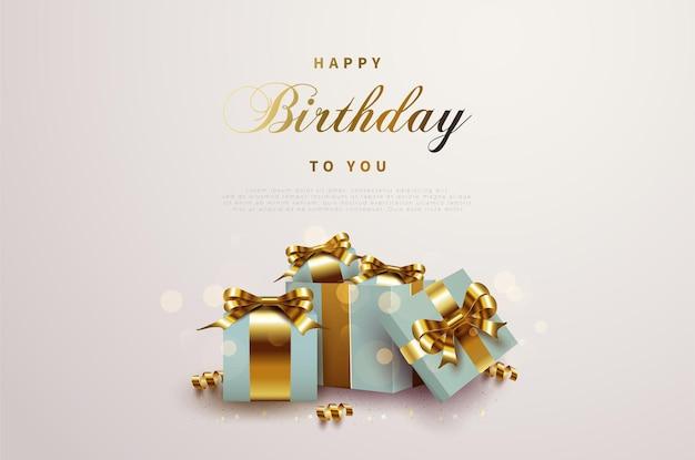 열린 선물 상자와 함께 생일 축하합니다.