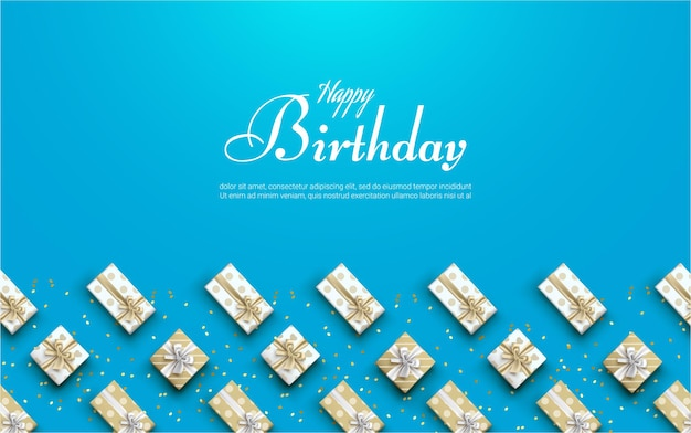 Happy birthday with realistic gift box