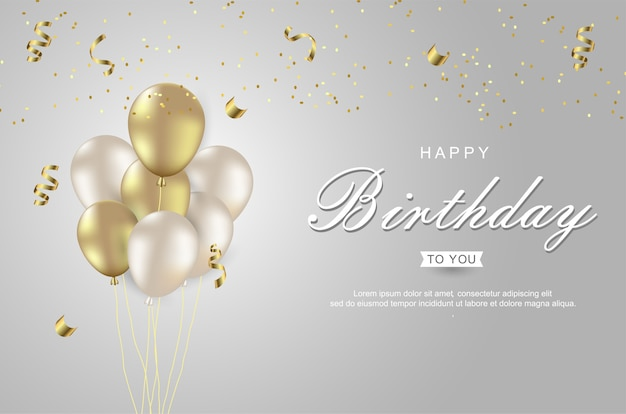 Happy birthday with realistic gold balloon white