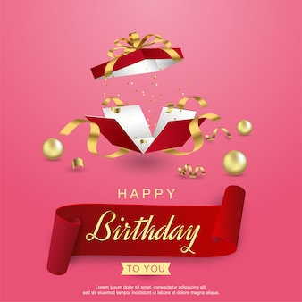 Happy birthday with realistic open gift box and ribbon