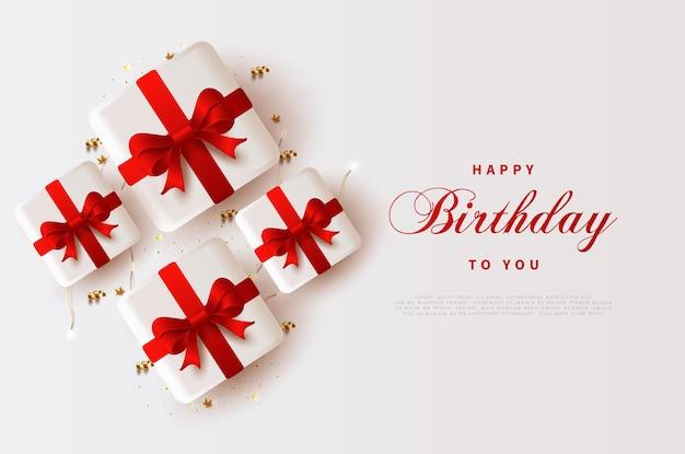 빨간 선물 상자와 함께 생일 축하해.