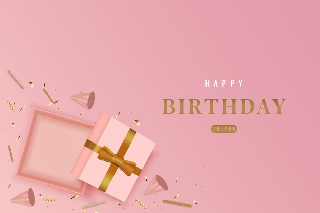 Happy birthday with scattered gift boxes