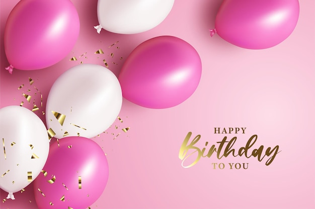 Happy birthday with shiny gold lettering