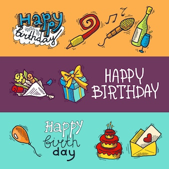 Happy birthday with sketch elements banner set