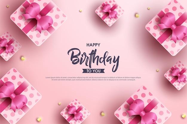 핑크 리본이 달린 선물 상자가있는 생일 축하합니다.