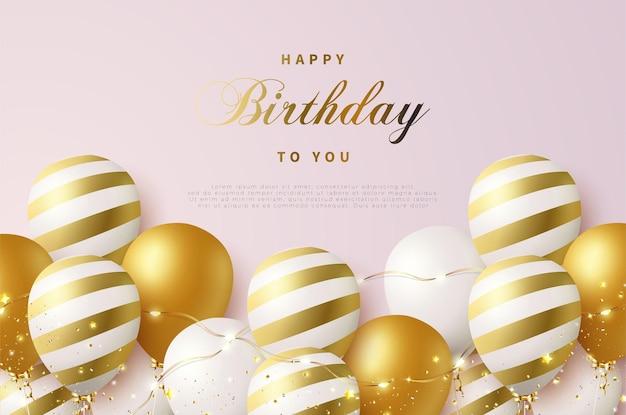 반짝이는 뜨거운 공기 풍선과 빛나는 작은 별이있는 생일 축하합니다.