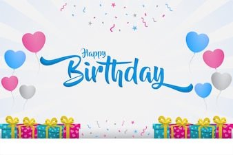 Happy birthday with text in the middle