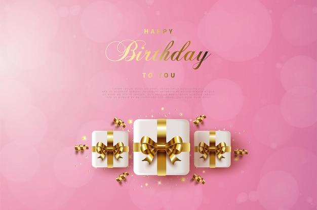 세 개의 선물 상자와 함께 생일 축하합니다