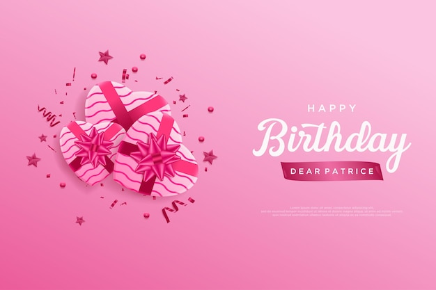 Happy birthday with three pink ribbon gift boxes