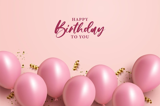 Happy birthday with with black lettering and balloons