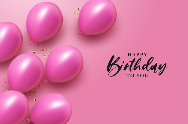Happy birthday with with black on pink