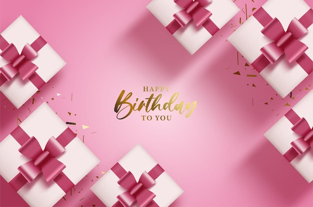 Happy birthday with with shiny gold and gift box
