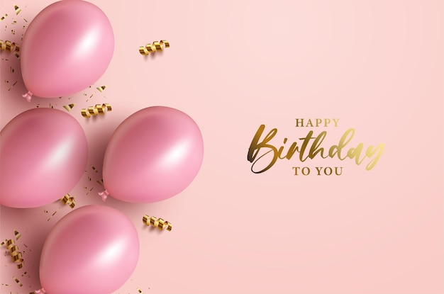 Happy birthday with with shiny gold and pink balloons
