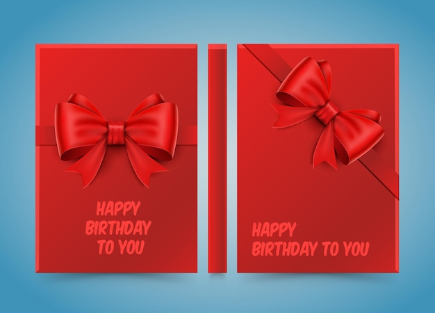 Happy birthday to you. bow on red paper. banner road book. a4 size paper, template design element, vector