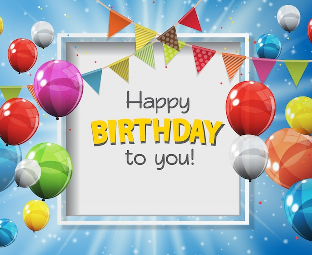 Happy birthday to you greeting card with color glossy balloons