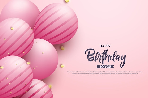 Happy birthday to you with cute pink balloons
