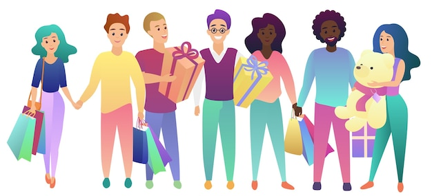 Happy birthday. young people group with shopping bags and presents gifts set
