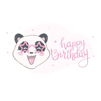 Happy birthray panda illustration