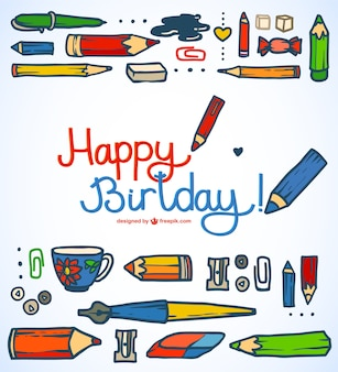 Happy birttday greeting card drawing