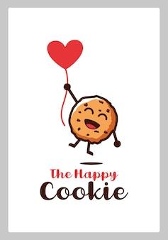 하트 모양의 풍선 캐릭터 만화 디자인 삽화로 날아다니는 행복한 비스킷 쿠키